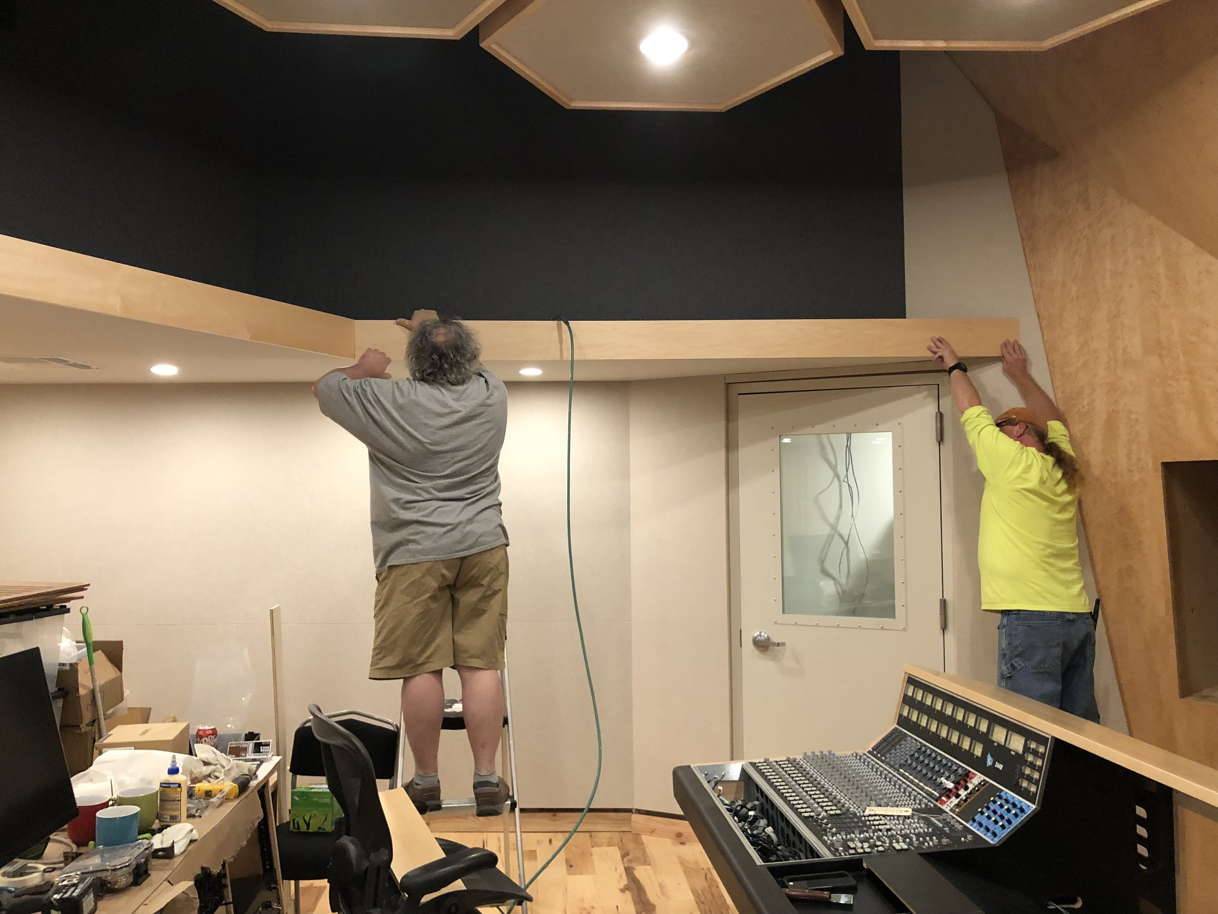 The crew from Brett Acoustics left, driving one of the trucks back and taking our old API 1608 with them. One week later Tony and his brother Bryan flew back out to help finish up a few odds and ends like the soffit facia they are installing here.
