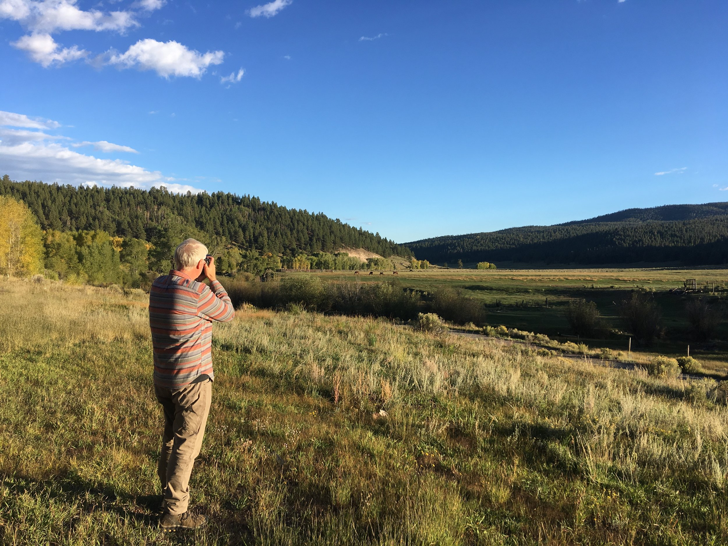 Jim taking photos at golden hour in northern New Mexico
