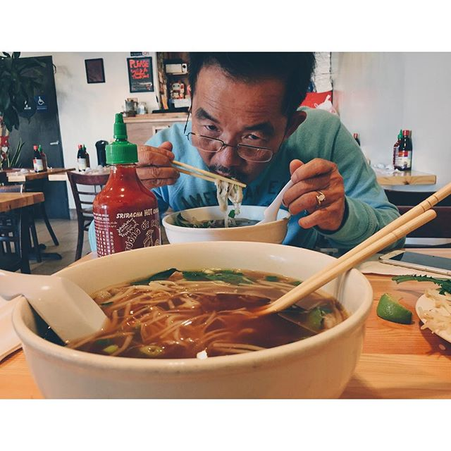 Doing what we do best. Killin some time by killin some pho with my dad on his layover to Australia. So glad I got to see him.
