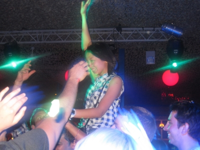 That's Nicole, one of my tour mates, on the shoulders of someone in the tour group at Space