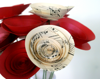 Click to see the Valentine's Day Bouquet in Romantic Red and Sheet Music