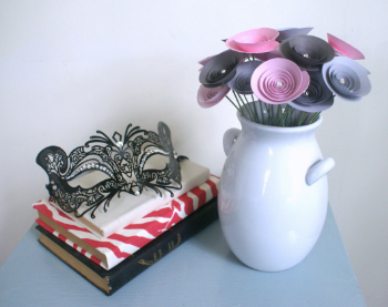 Click to see the Valentine's Day Bouquet in Pinks and Grey with Swarovski Crystals
