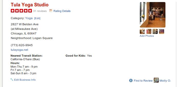 Tula Yoga Studio has a 5-star rating on Yelp.
