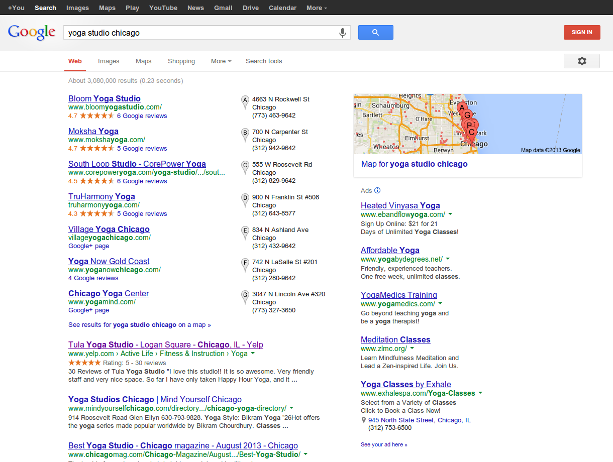 """Simply by typing """"yoga studio chicago"""", people can easily find your studio."""