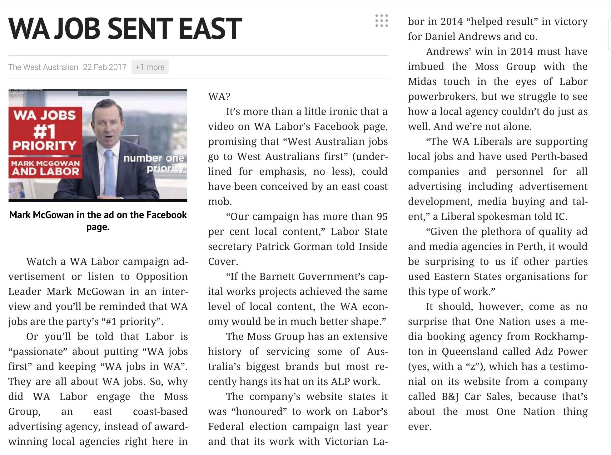 The West Australian, 22 February, 2017