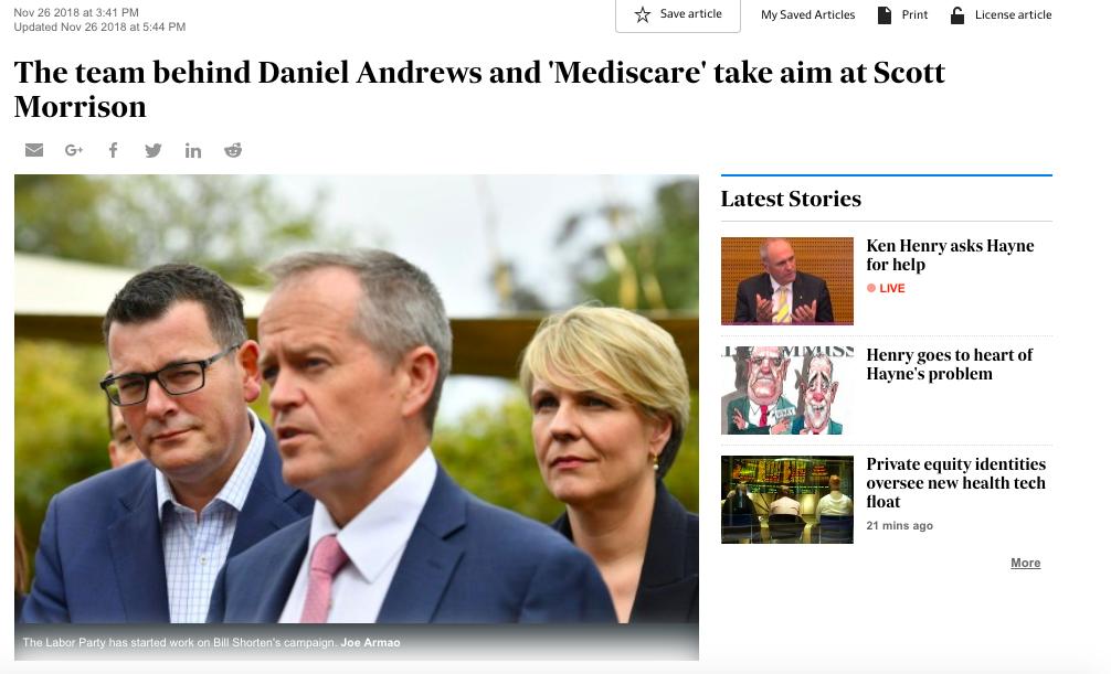 Australian Financial Review, 26 November, 2018