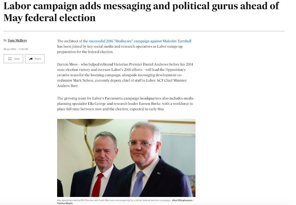 Australian Financial Review, 28 January, 2019