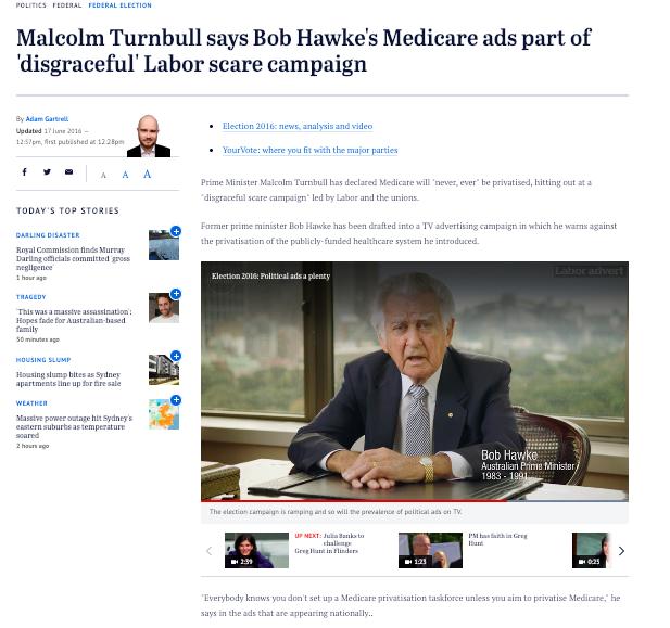 The Sydney Morning Herald, 16 June, 2016