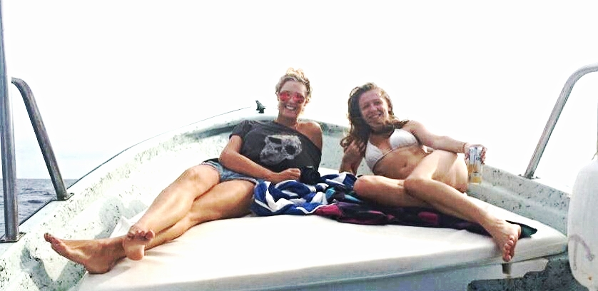 My friend Josi and I on the boat to Las Murietas