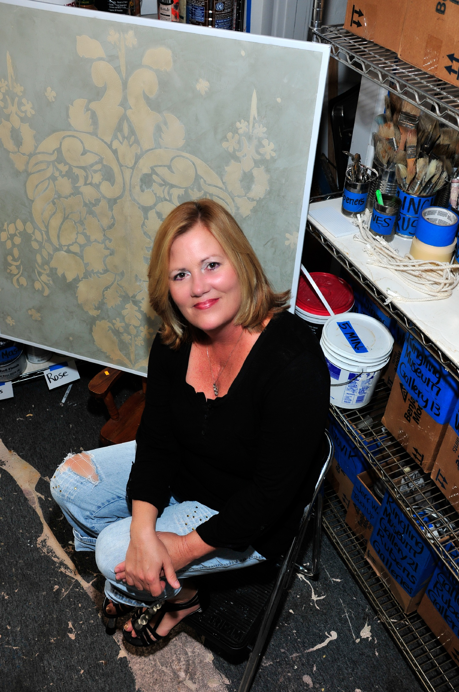 Alene Pettus in the studio for Architectural Painting and Renovation.