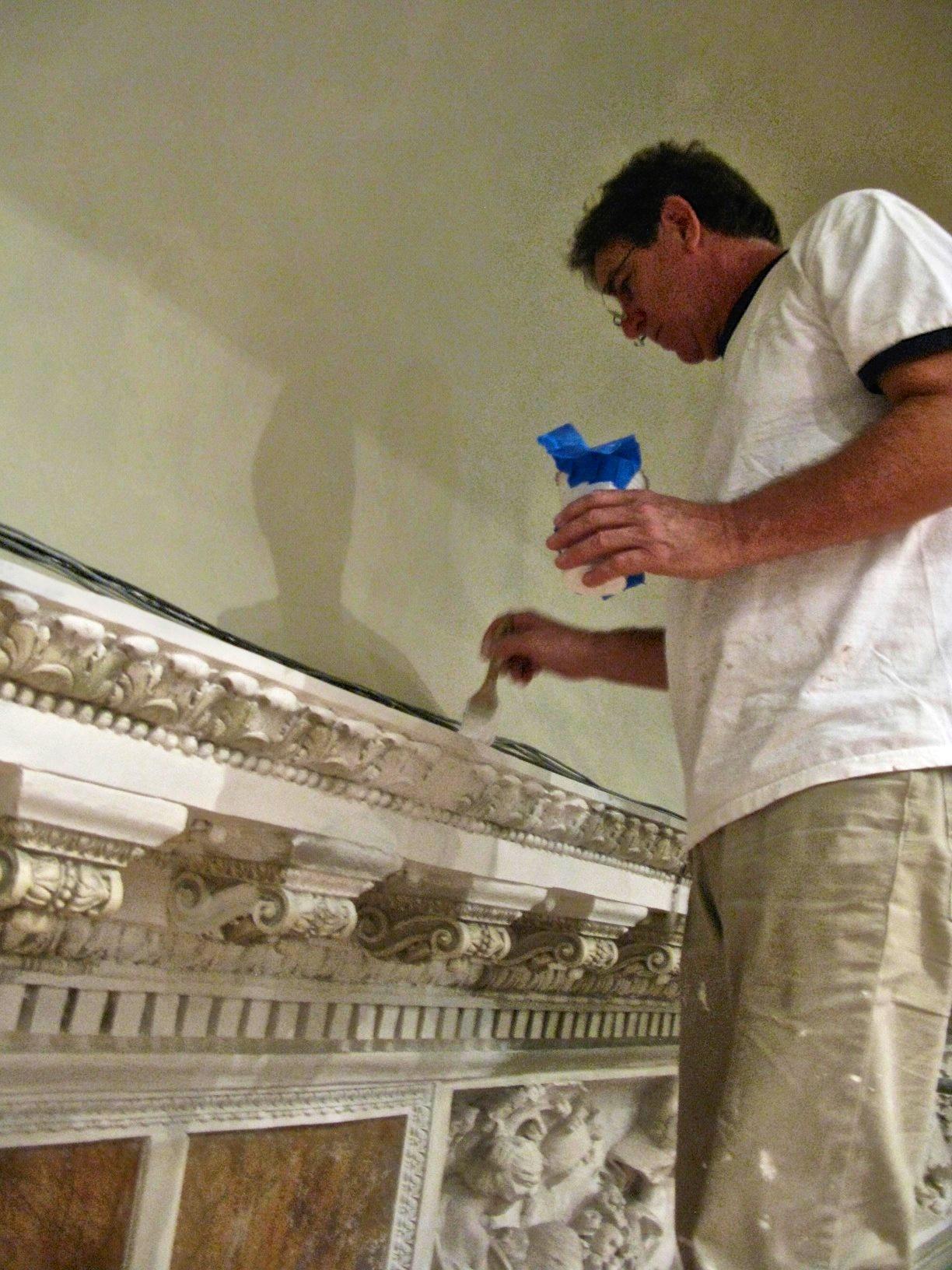 Jonathan Pettus restoring plaster work at The John and Mable Ringling Museum of Art.