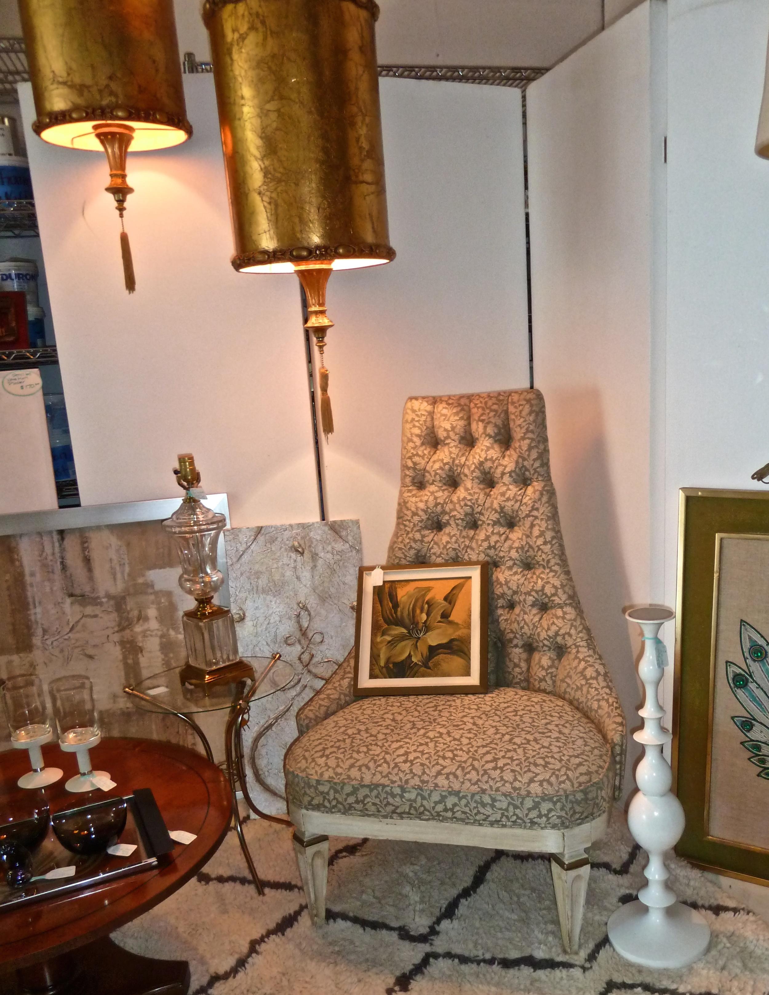 Hollywood Regency Chair Hollywood Regency swag lampshades,G Inez