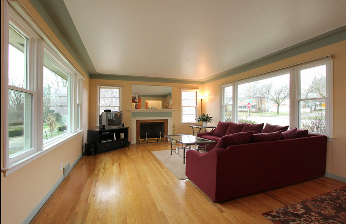 Living Room looking towards fireplace and Rosewood Street