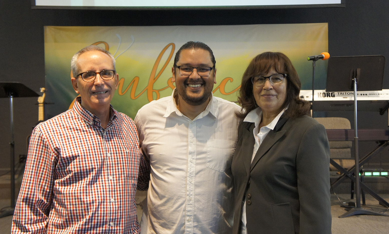 Left to Right: Paul Stagnaro, Pastor Nathan Batres, Pastor Peggy Brumfield.