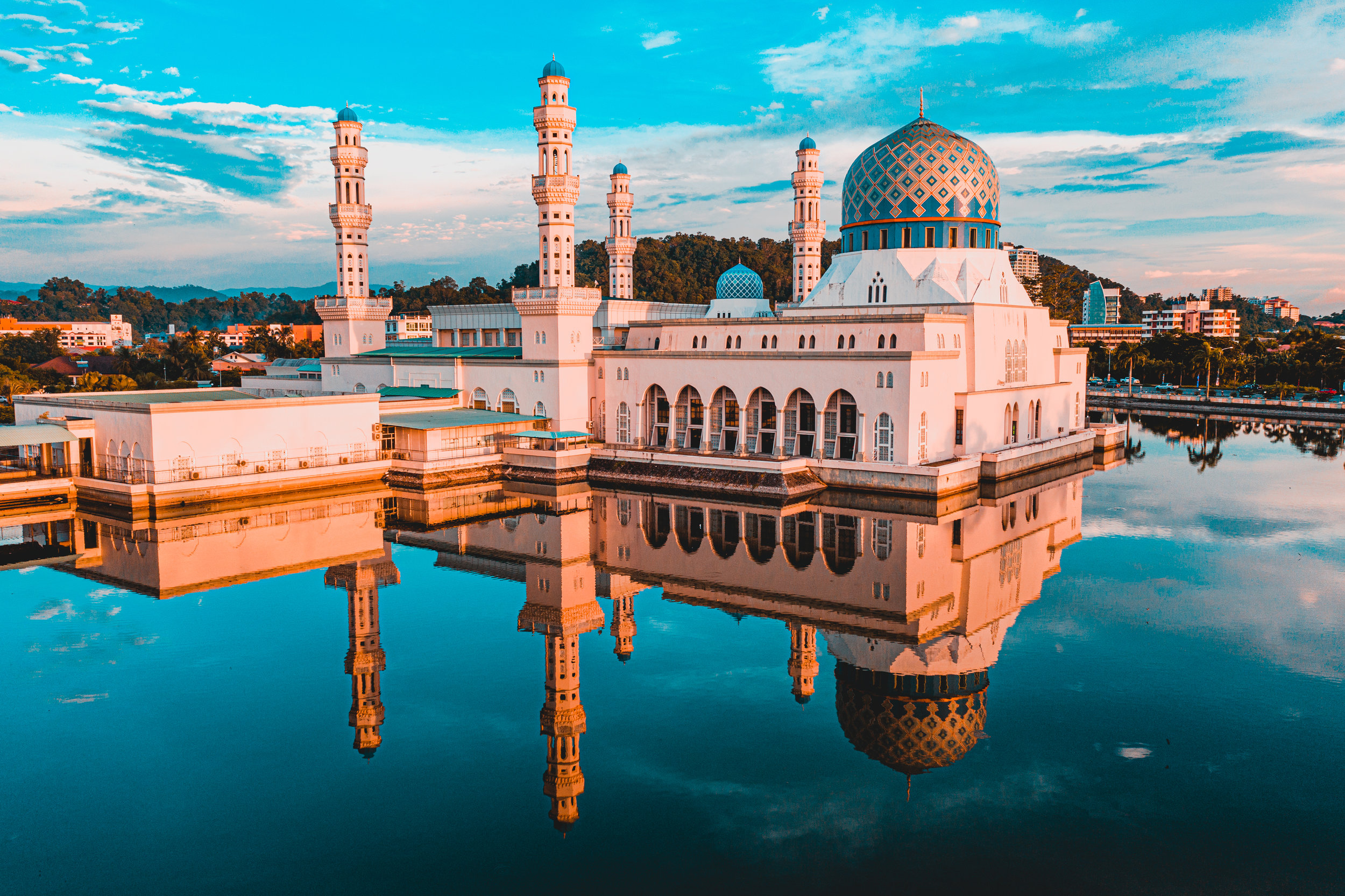 The Kota Kinabalu City Mosque, whose dome is inspired by the Prophet's Mosque in Medina, sits in the middle of a man-made lagoon. Shot on the DJI Mavic 2 Pro. Joshua Karthik.
