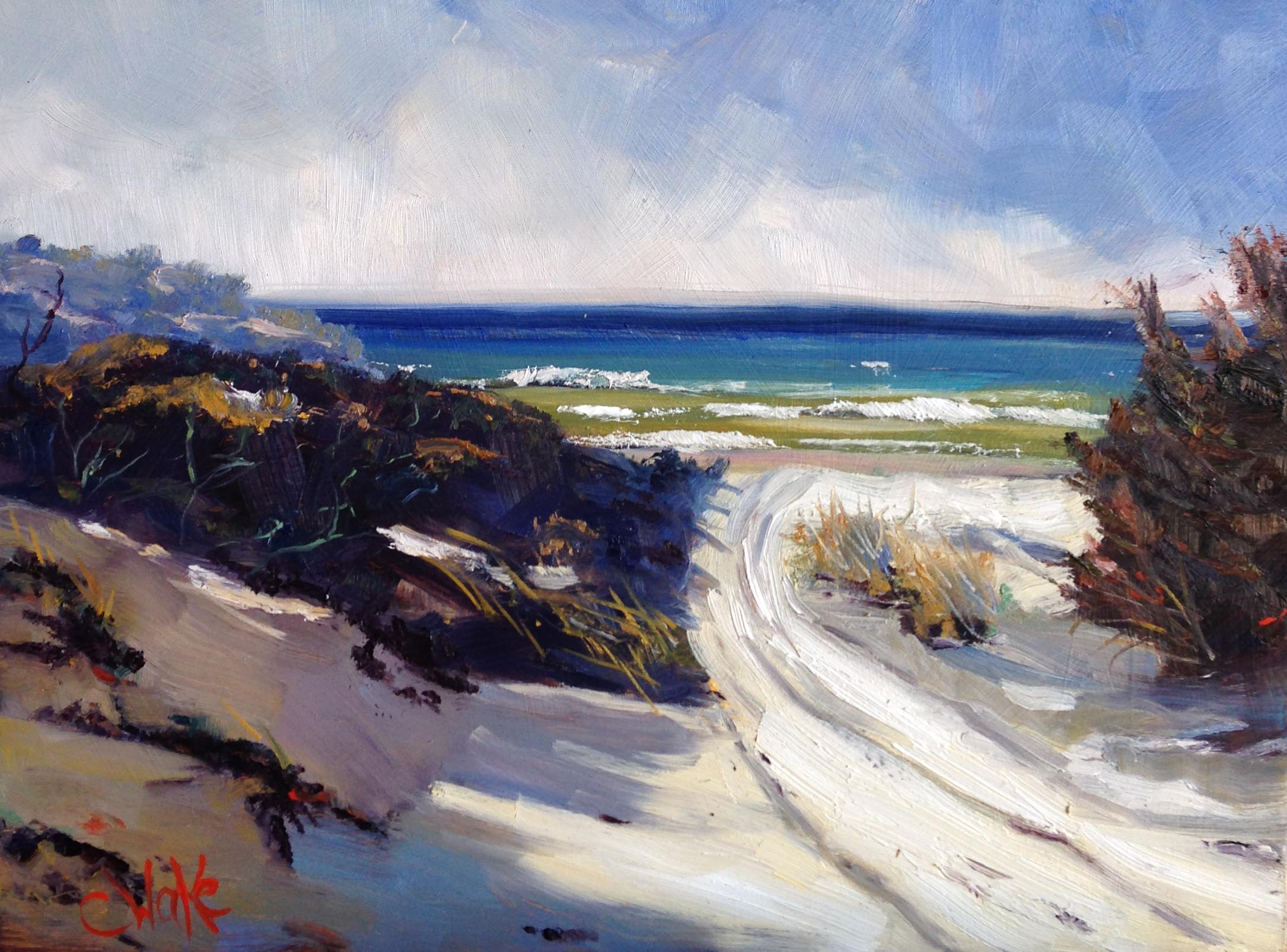 """  Beach 1   ""30 x 40cm oil on board"