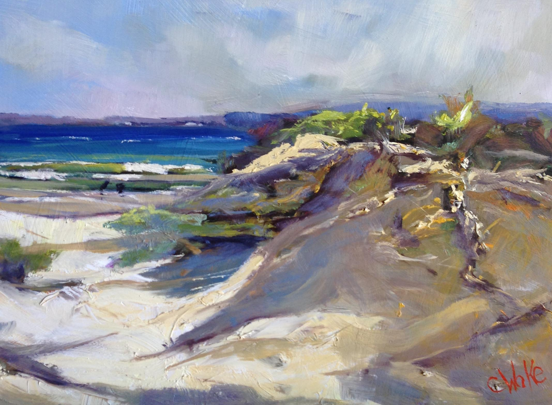"""Beach 2"" oil on board 30 x 40cm"