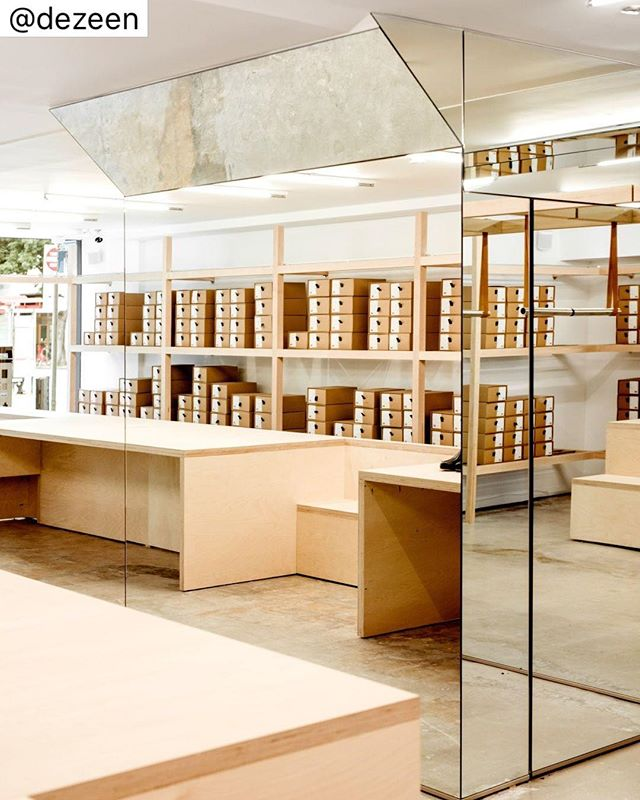 Australian designer @jordana_maisie_design_studio has designed this shoe shop in San Francisco to look more like a storage room than a boutique.  See more on dezeen.com/interiors #RetailDesign #SanFransisco #Interiors  Photo by Carlos Chavarría