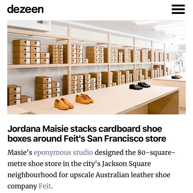 . Always an honour to get a mention on @dezeen - thank you for the continued support! . . Installation Three: Service & Supply . Our latest retail project for @feitdirect . 406 Jackson St, San Francisco . 📸 by @crls.chavarria . . . . #dezeen #retail #design #architecture #shoes #feitdirect  #jordanamaisiedesignstudio