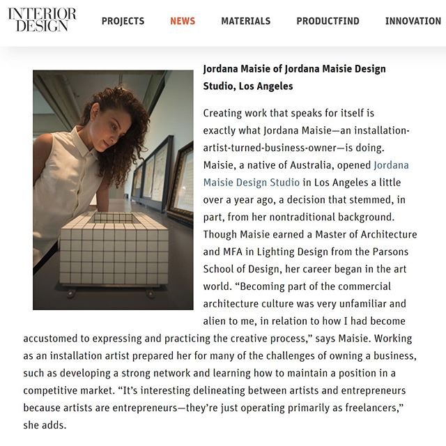 . Thank you for including some thoughts of ours in the @interiordesignmag article honouring 'World Entrepreneurs Day'. . We feel honoured to be considered entrepreneurial! . . . . #design #architecture #jordanamaisiedesignstudio #interiordesignmagazine #entrepreneurial