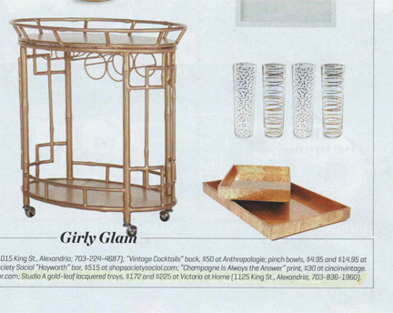 "Washingtonian, February 2014:  Two sets of trays from the shop are highlighted in ""Raising the Bar,"" a product feature on bar carts and accessories from local home stores."