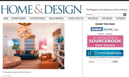 Home & Design, July/August 2012:  The magazine reviews Victoria's Missoni-inspired teen getaway at the DC Design House.