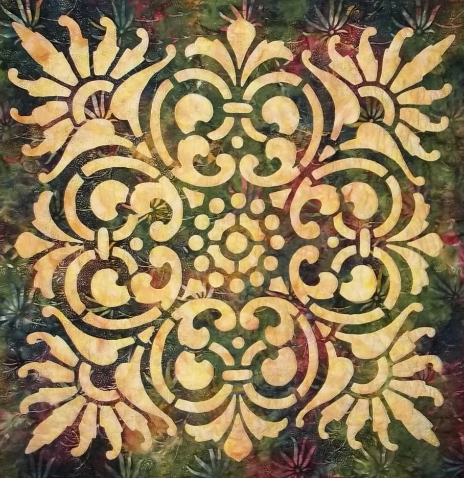 """Scroll & Fan  , 42"""" x 42"""", selected for New England Quilt Festival 2013"""