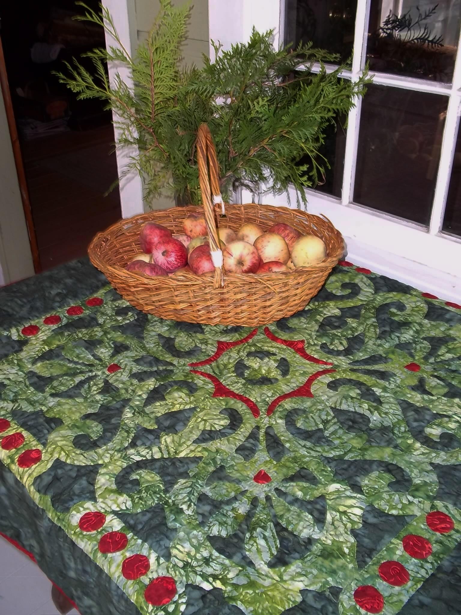 "Christmas Berries   , 42"" x 42"". Reverse applique and applique"