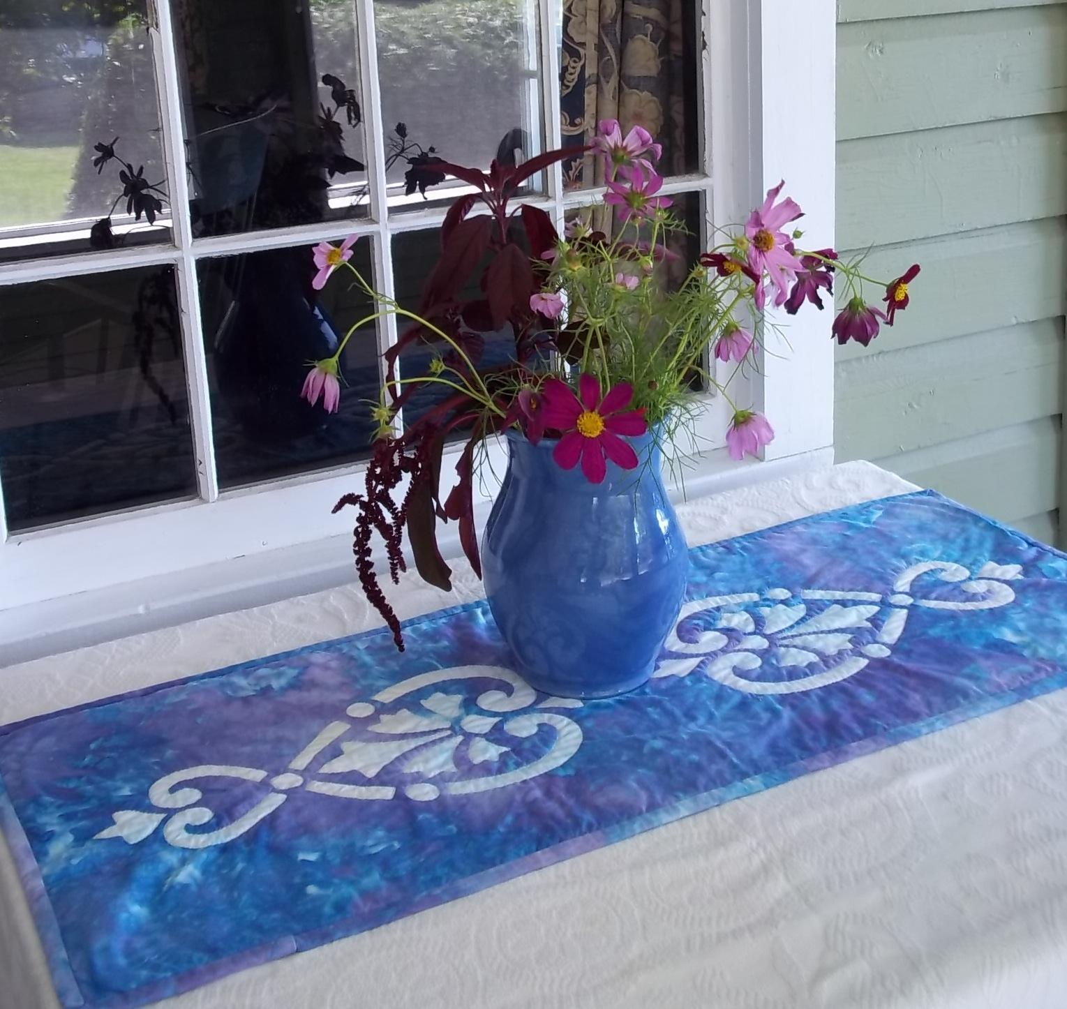Hearts & Fleurs, hand dyed, blue vase centered.jpg