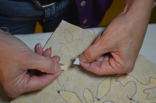 8. peel paper off your fabric band-aid.