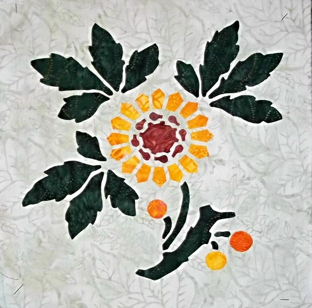 "Sunflower   , 3 of 9, Victorian Flower Garden, 16"" x 16"". Adding color on top."