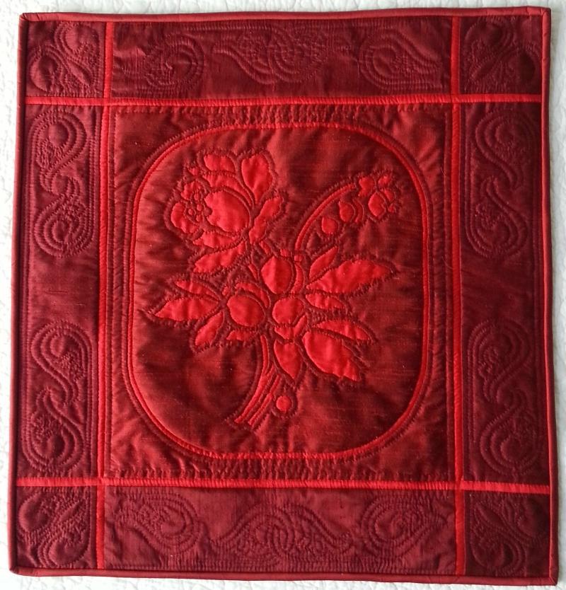 """""""Beloved"""" quilt .    Rose   (2 of 9), 16"""" x 16"""""""