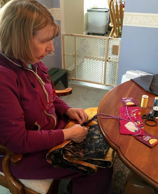 EOB Elf Ruth Ann stitching on binding.