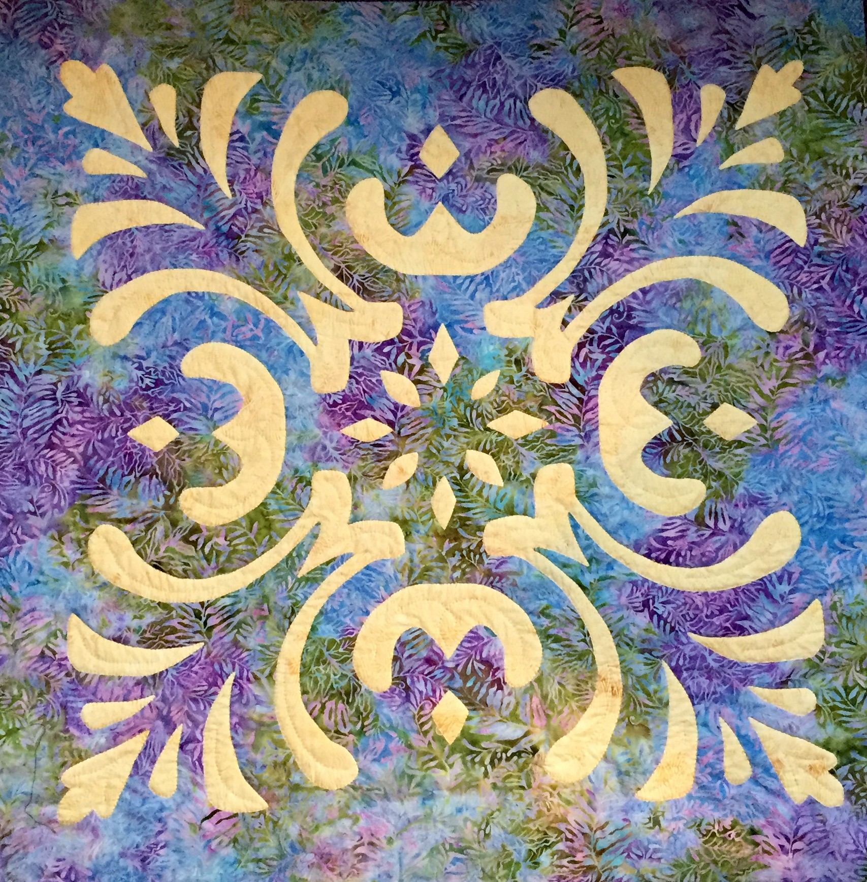 """Majesty, Medallion IX   , 36"""" x 36"""", hand reverse applique, hand quilted. Pre-sale item."""