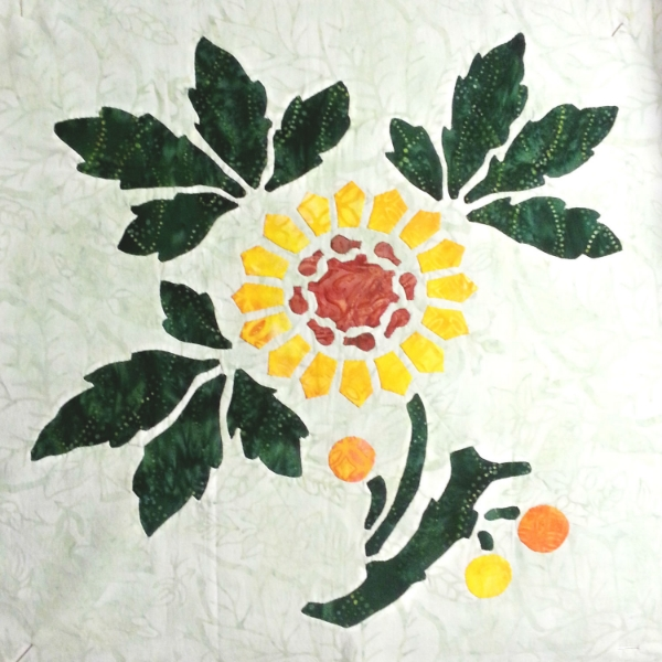Sunflower, 3 of 9   , Victorian Flower Garden. Reverse applique stems and leaves, appliqued blossoms.