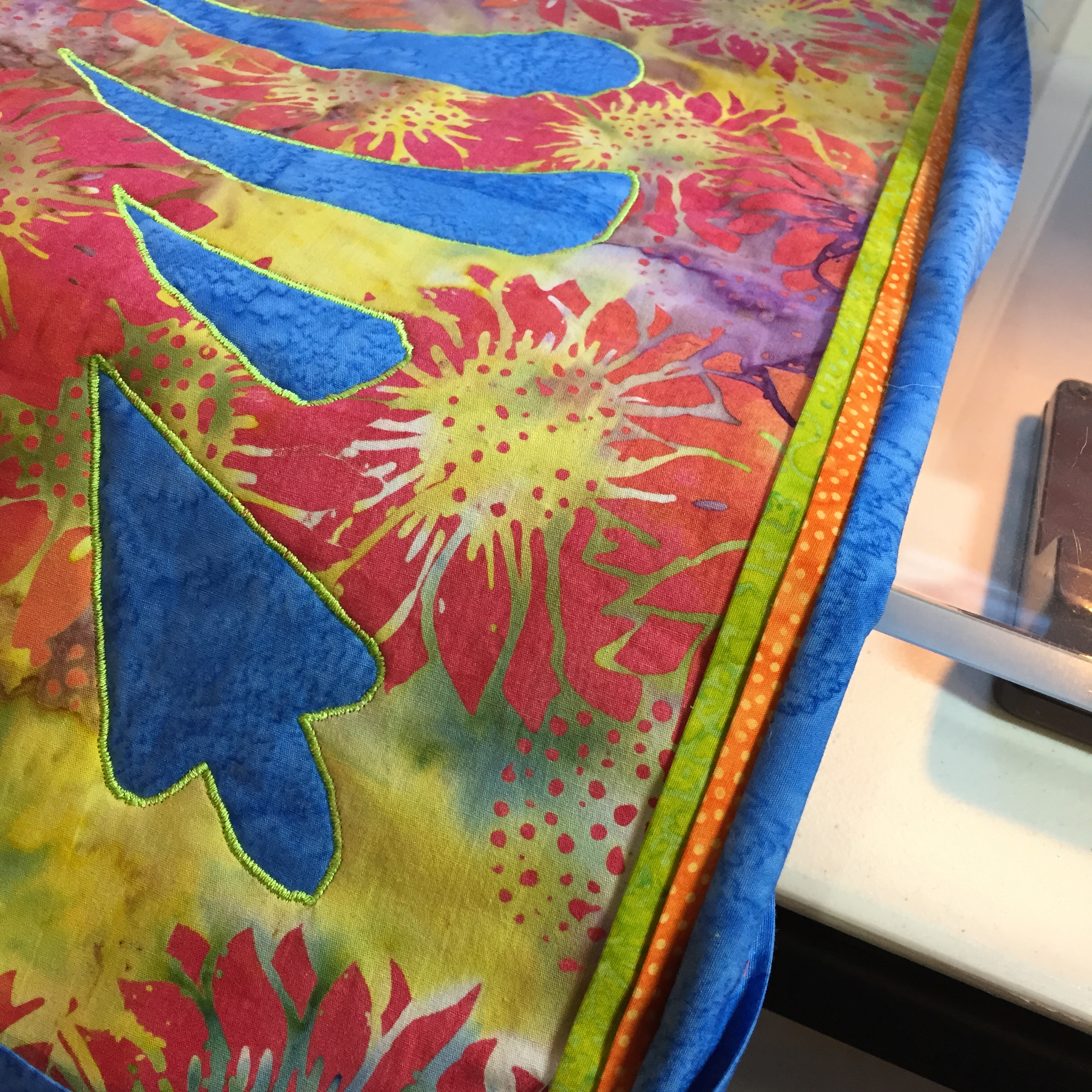 Binding: All sewn on and ready to hand-stitch.