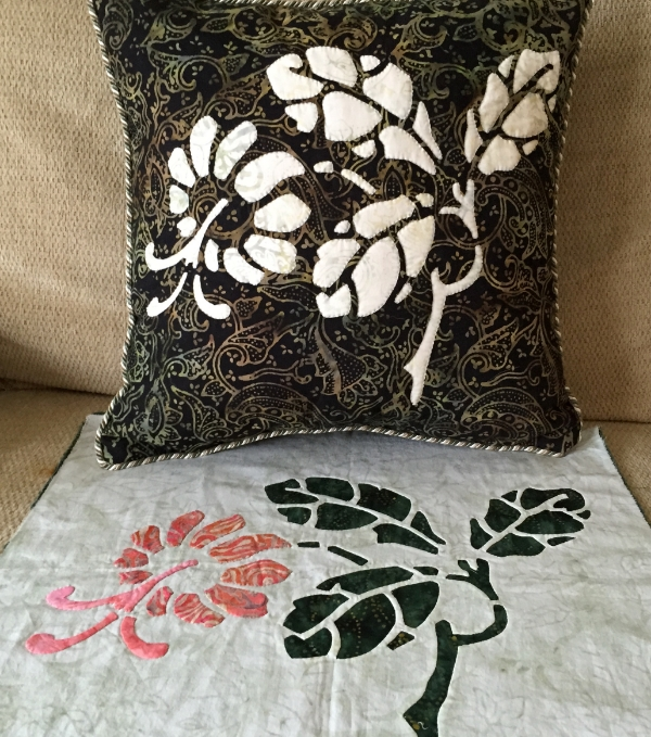 Trumpet Vine   , 6 of 9, Victorian Flower Garden. reverse applique pillow & block with reverse applique stems and leaves and applique blossom.