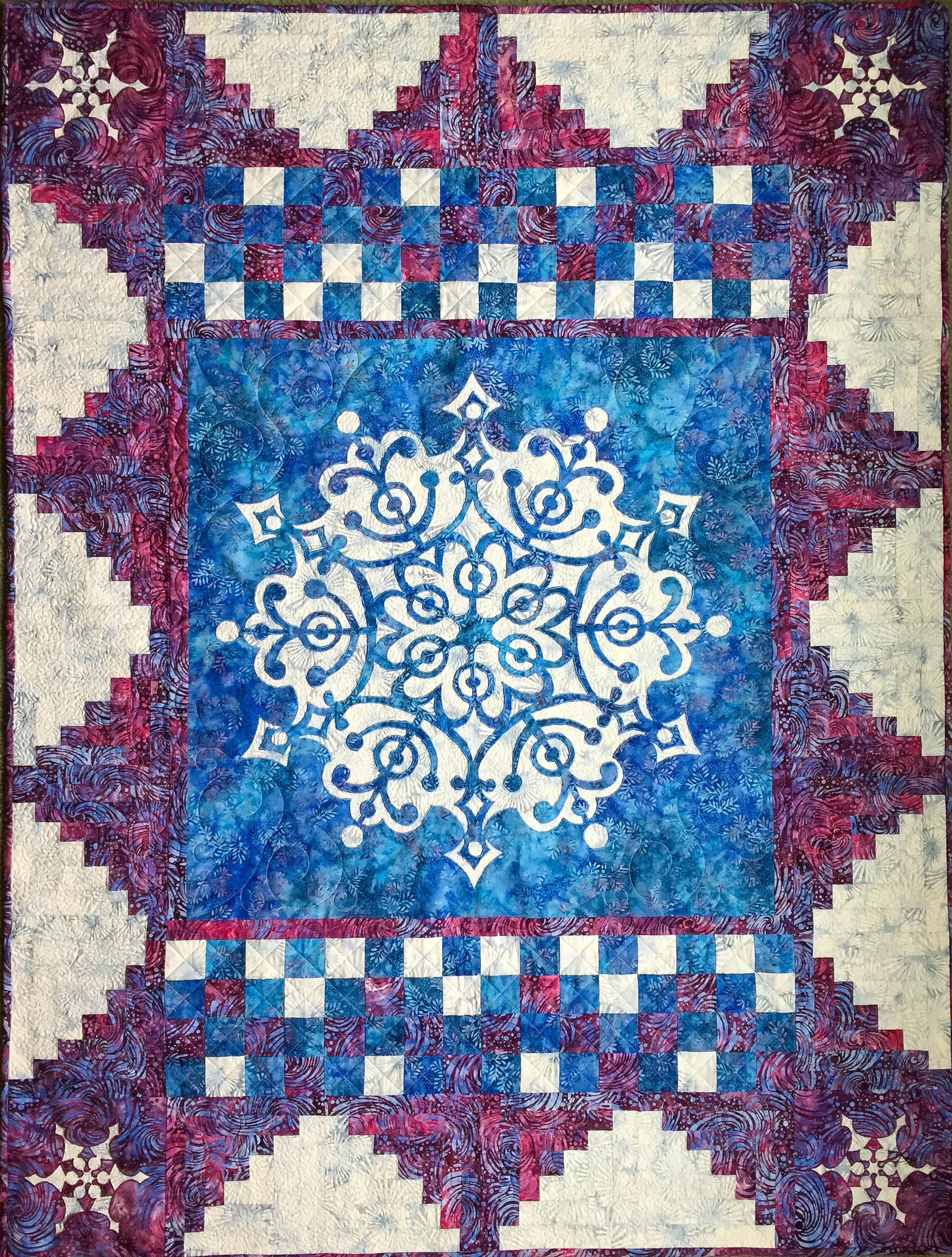 Frosty Frozen Wonder Quilt   . Made with  Frozen Wonder Medallion VIII   and   Frosty Quilt Expansion   pattern.