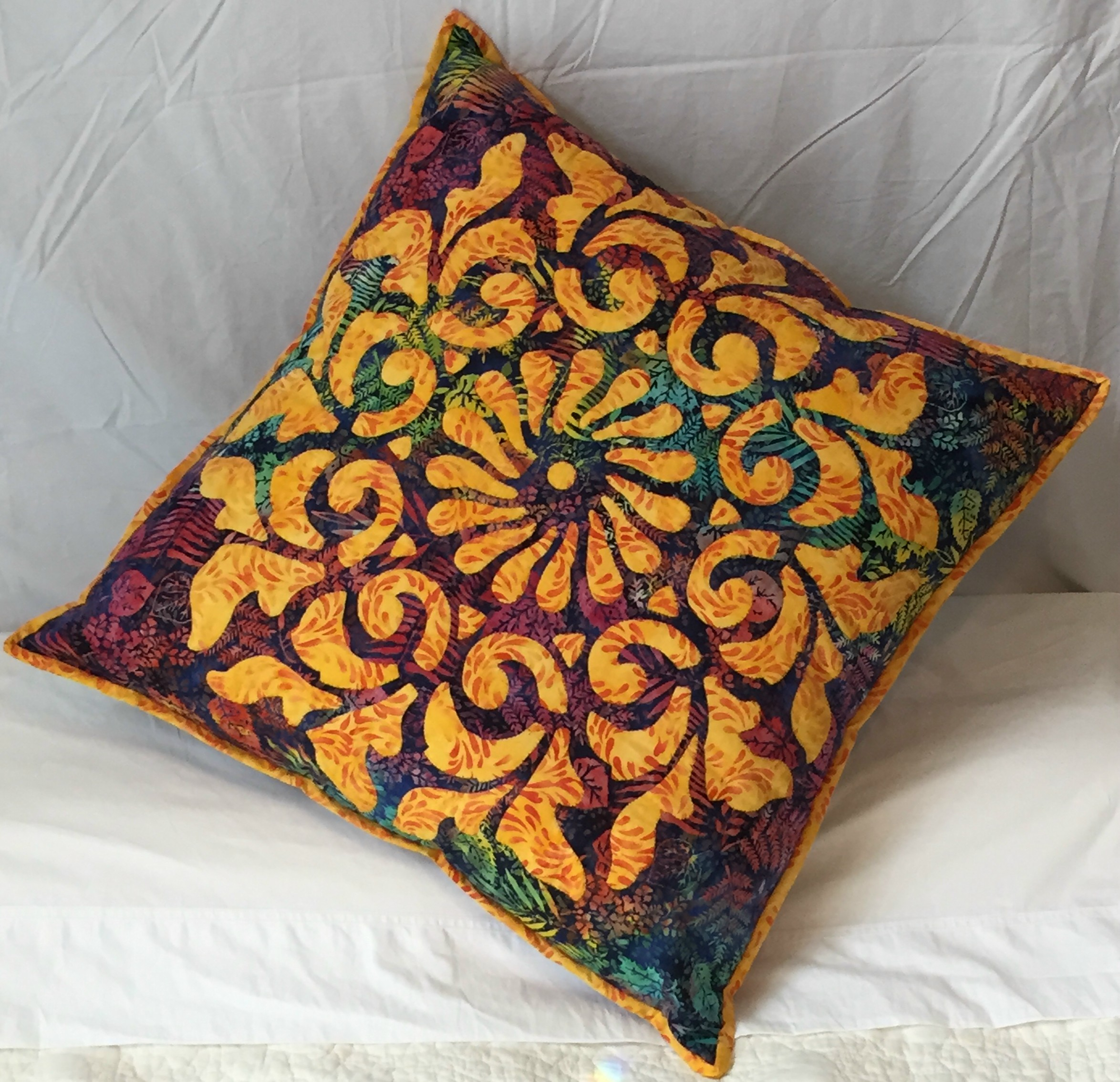 "Radiance, Medallion V    (26"" x 26""). hand and machine. New directions include how to make as fun, cuddly pillow!"