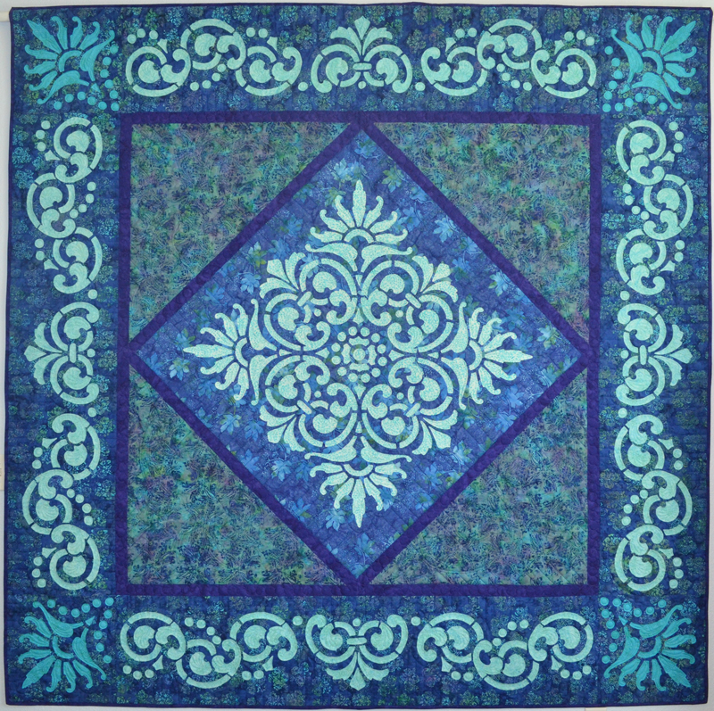 """Fit for a Queen Quilt  (89"""" x 89""""). Hand or machine reverse applique, machine pieced."""