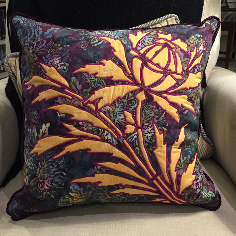 """Thistle,7 of 9,   (16"""" x 16"""") of   Victorian Flower Garden  . Pillow created by machine reverse applique."""