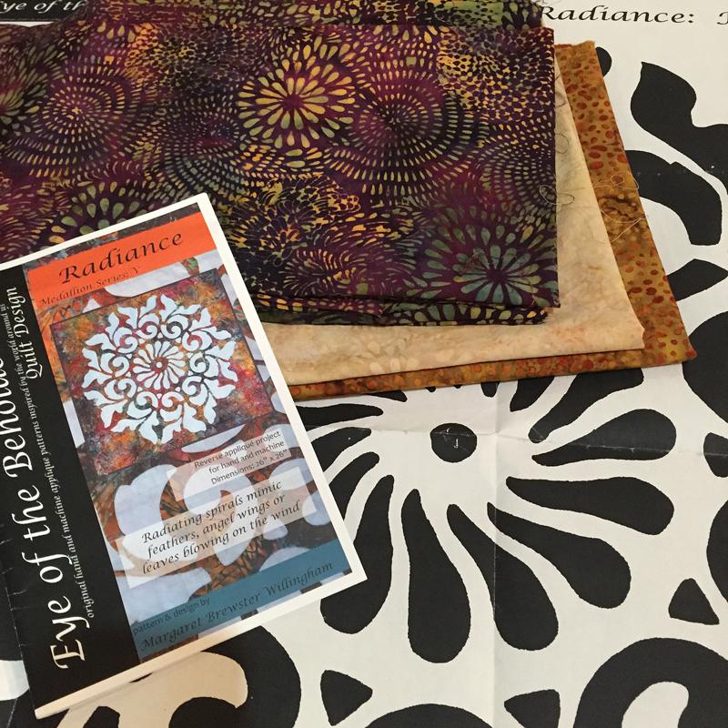 Radiance, medallion V and Hollywood Hills fabrics from Island Batik.
