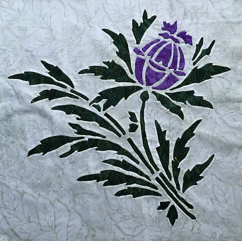 """Thistle, 7 of 9, Victorian Flower Garden. (16"""" x 16"""")"""