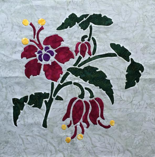 """Fuchsia, 8 of 9, Victorian Flower Garden, 16"""" x 16""""."""