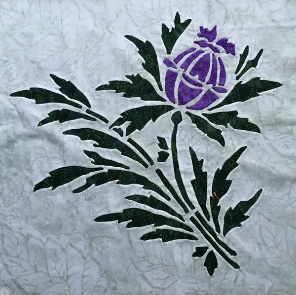 """Thistle, 7 of 9, Victorian Flower Garden. 16"""" x 16""""."""