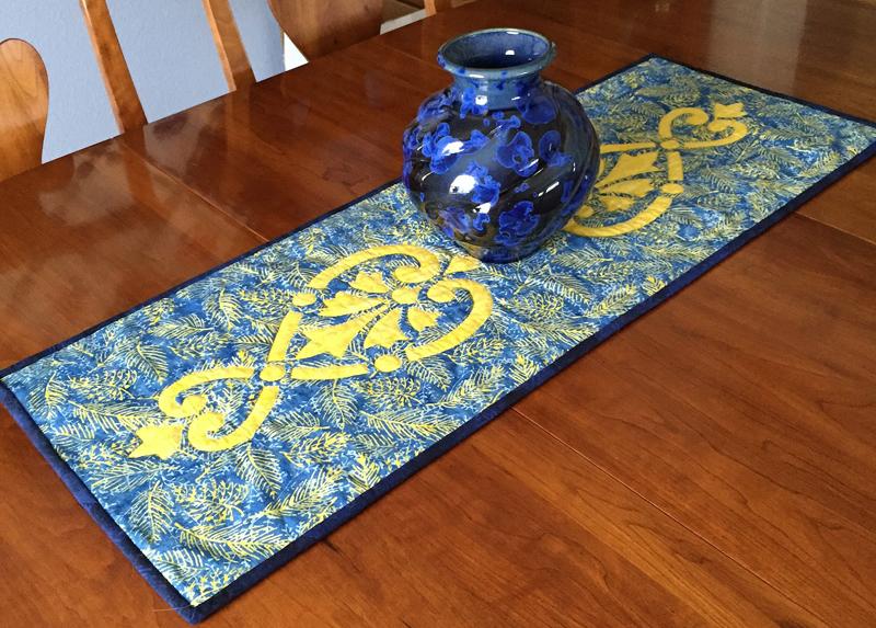 "Hearts & Fleurs, table runner II   (13"" x 36""). a great beginning pattern."
