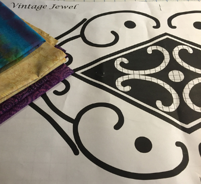 Vintage Jewel pattern snippet. Solid black for reverse applique and crosshatched shapes for applique.