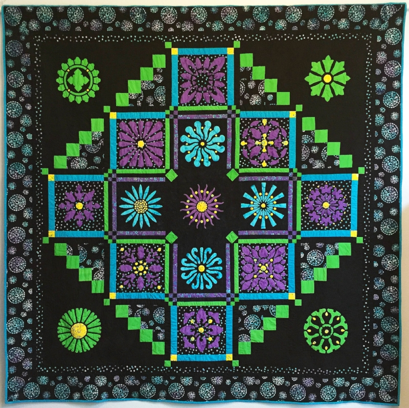 """Midnight Explosion Quilt VII   (95"""" x 95""""). """"Burst into Life"""". See it in Batik Textiles, booth 915! Get the patterns from us in booth 416!"""