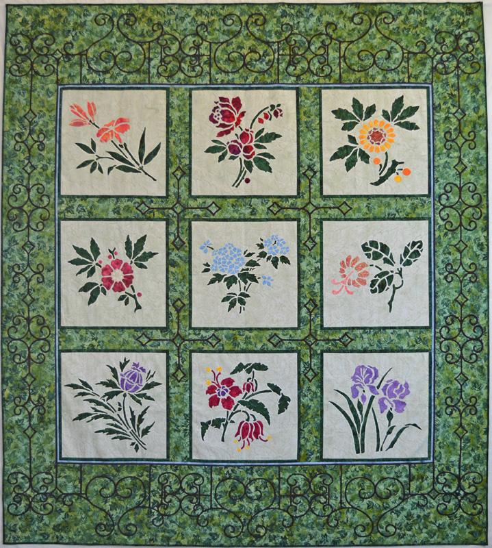 """Victorian Flower Garden Quilt IV   (74"""" x 82""""). hand or machine reverse applique"""