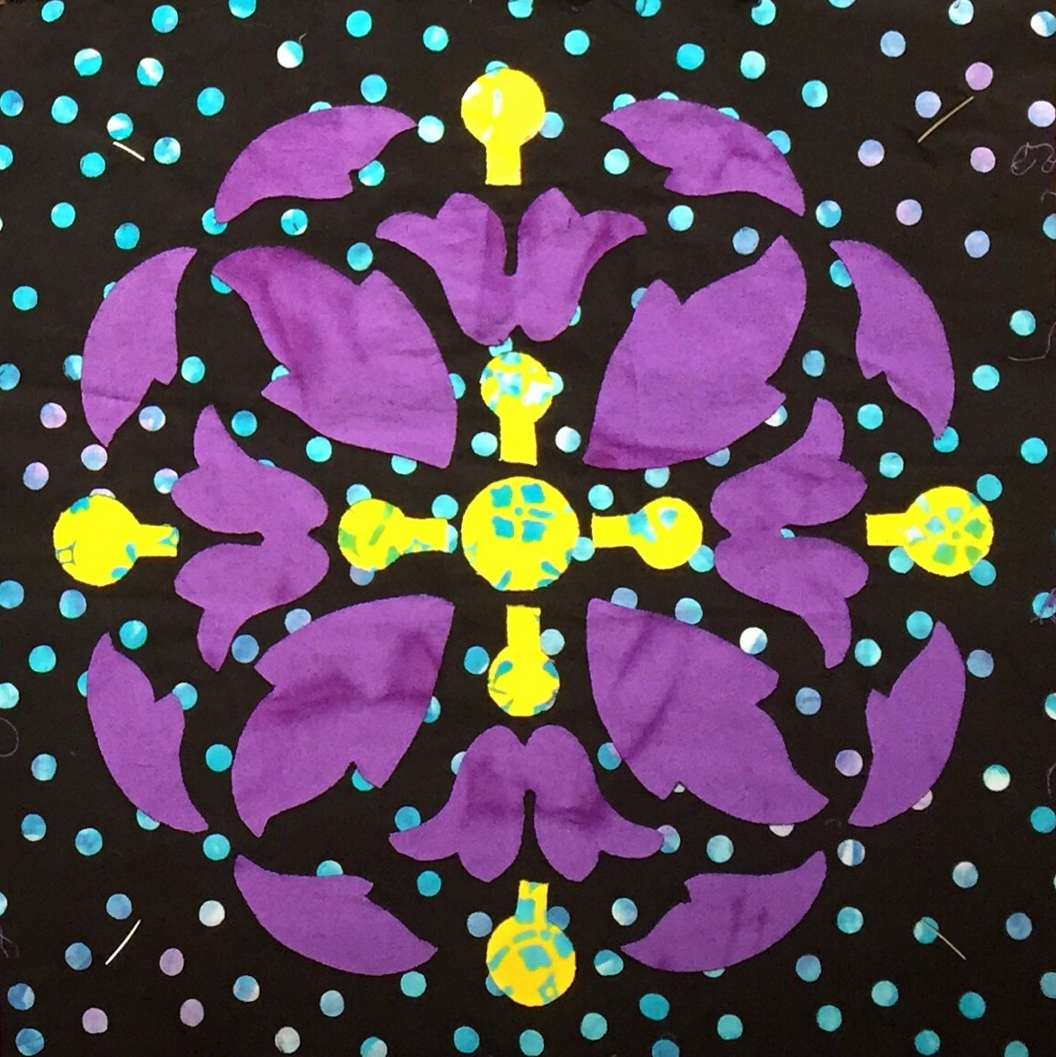 """Block 7 from Midnight Explosion Quilt VII. Center circle has a 1/2"""" diameter."""